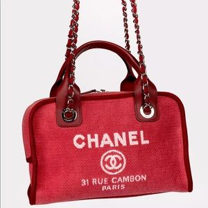 Chanel Deauville Bowler Red Denim Small